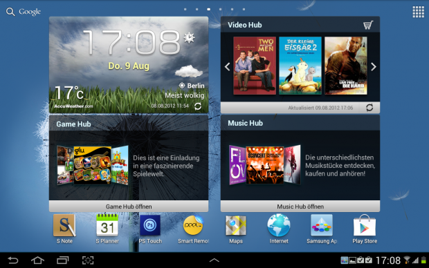 Der Homescreen des Galaxy Note 10.1