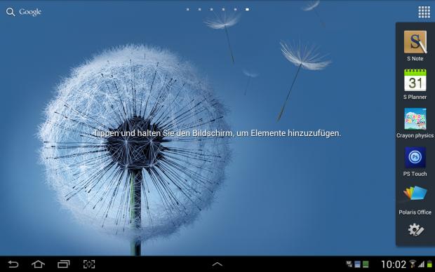 Samsung hat dem Tablet mit Digitizer ein weiteres Menü spendiert, das auftaucht, wenn der Stift aus dem Tablet genommen wird.