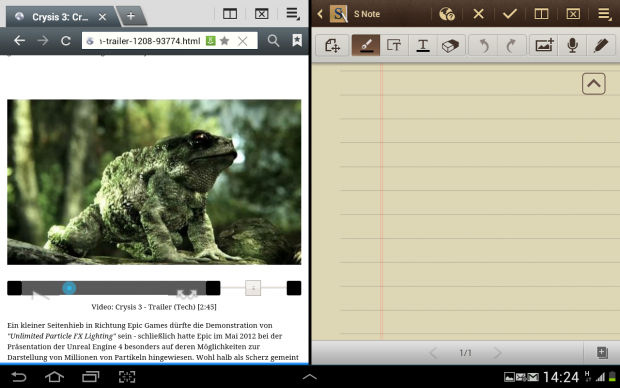 Der Browser und das Notizprogramm nebeneinander