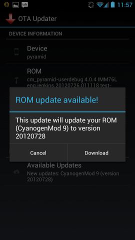 Die App für automatische Updates vom OTA Update Center (Screenshot: OTA Update Center)