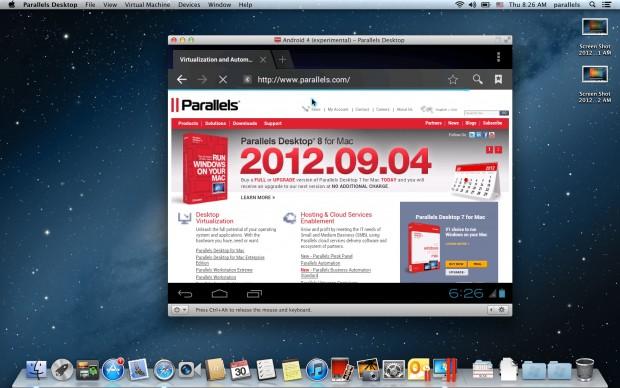Parallels Desktop 8 für Mac - Android kann einfach als Gastsystem installiert werden (Bild: Parallels)