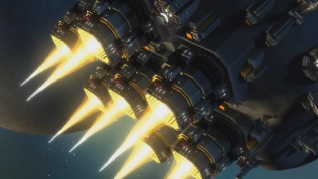 Planetary Annihilation - ein Asteroid wird mit Düsen zur Bombe. (Bild: Uber Entertainment)