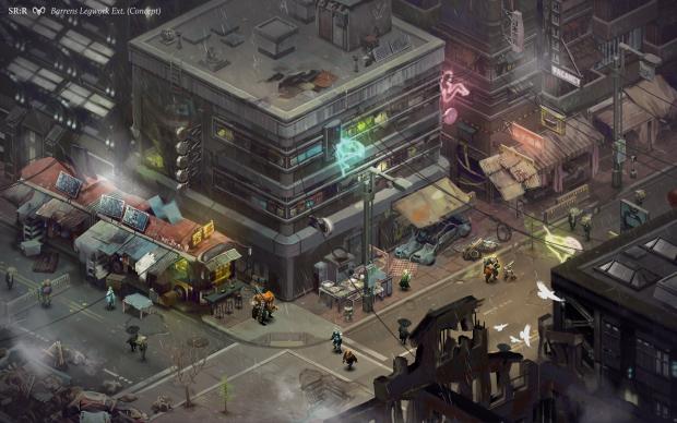 Shadowrun Returns - im August 2012 veröffentlichtes Konzeptbild zeigt den Barrens Street Market (Bild: Harebrained Schemes)
