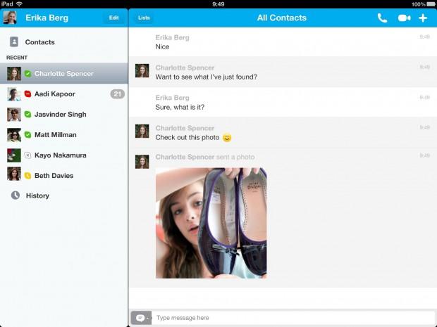 Skype für iPad - ab der Version 4.1 ist eine Fotoübertragung direkt über Skype möglich. (Screenshot: Skype)