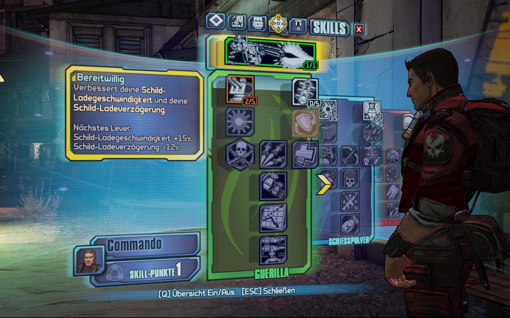 Test Borderlands 2: Kämpfe, Kanonen, Koop - und ein Kammerjäger - Im Talentbaum passen wir die Charaktere unseren Vorstellungen an.