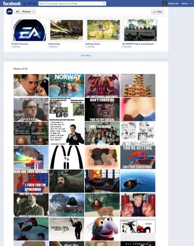 Zensierter Screenshot der EA-Facebook-Seite