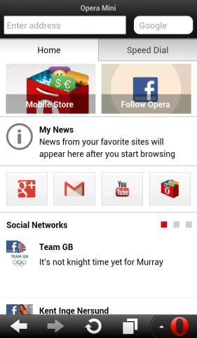 Opera Mini 7.5 für Android mit geöffneter Smart Page (Quelle: Opera Software)