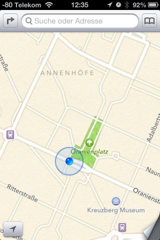 Der Stadtplan von iOS 6  (Tom Tom) sieht hübsch aus, aber...