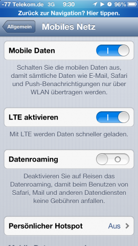 LTE lässt sich abschalten.