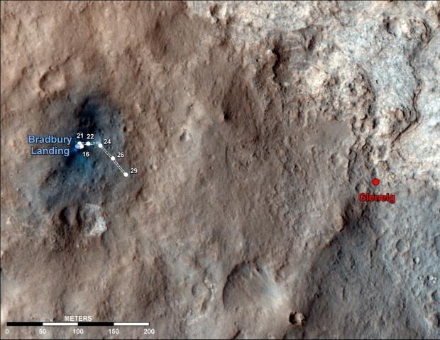Luftbild vom Gale Krater mit Landeplatz, Curiosity und Glenelg, aufgenommen am 4. September 2012 (Bild: Nasa/JPL-Caltech/Univ. of Arizona)