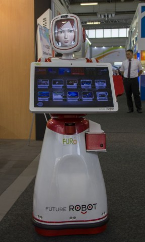 Roboter Furo am Stand von Future Robot. (Foto: Werner Pluta/Golem.de)