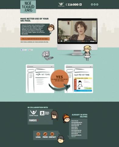 Notfound.org wirbt für die Nutzung der eigenen 404-Seite zur Suche nach vermissten Kindern. (Bild: Famous)
