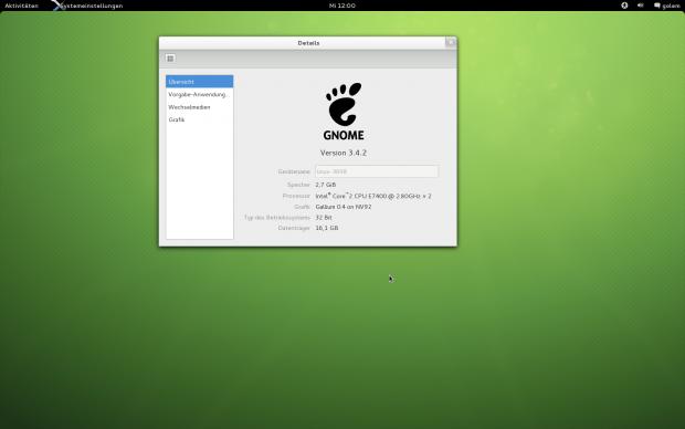 Opensuse 12.2 verwendet Gnome 3.4...