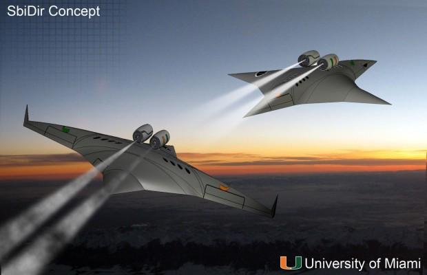 Das Supersonic Bi-Directional Flying Wing im Unterschallmodus (l.) und im Überschallmodus (Grafik: University of Miami)