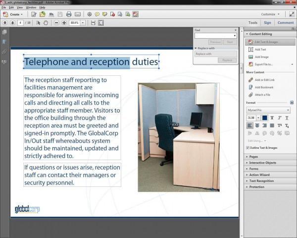 Editieren von PDFs in Acrobat XI