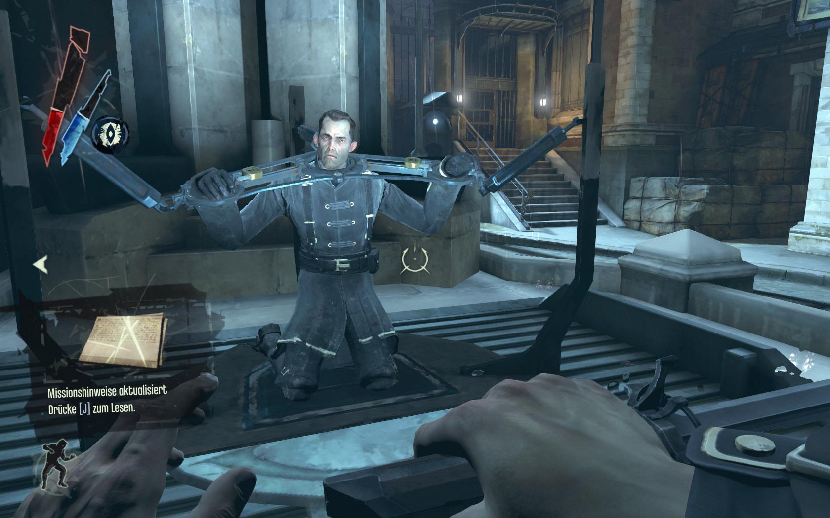Test Dishonored: Nichts zu motzen beim Meucheln - Ein gefangener Soldat hilft uns, wenn wir ihn befreien.