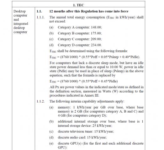 Der Kern des Entwurfs: Gesamtleistungsaufnahme pro Jahr nach Formel