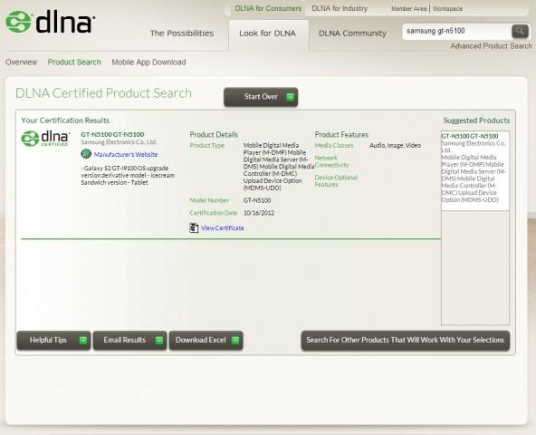 Das DLNA-Zertifikat weist das neue Gerät von Samsung als Tablet aus. (Quelle: DLNA/Screenshot: Golem.de)