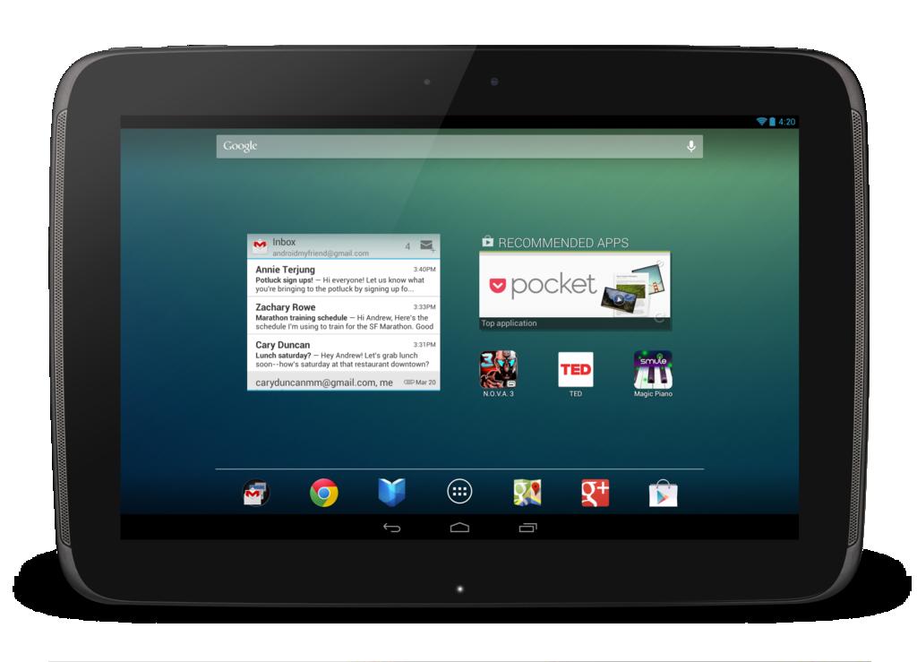 Nexus 10: 10-Zoll-Tablet mit höherer Auflösung als iPad 4 - Der Homescreen des Google Nexus 10 (Quelle: Google)