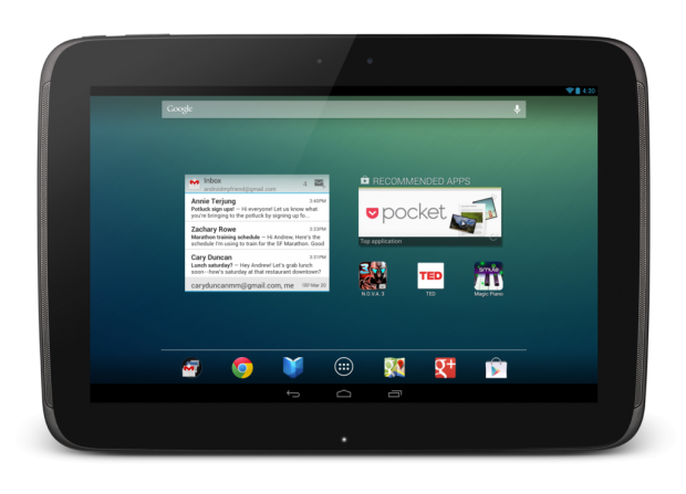 Der Homescreen des Google Nexus 10 (Quelle: Google)