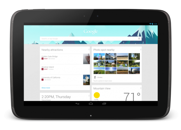 Google Now auf dem Nexus 10 (Quelle: Google)