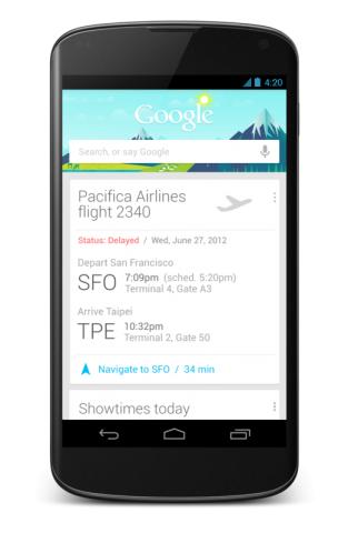 Google Now auf dem neuen Nexus 4 (Quelle: Google)