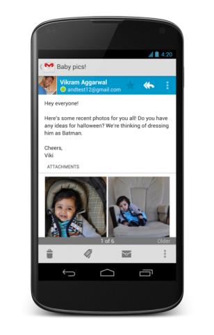 GMail auf dem Nexus 4 (Quelle: Google)