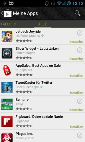 In der Auflistung aller jemals installierten Apps können jetzt einzelne Programme gelöscht werden. (Screenshots: Golem.de)