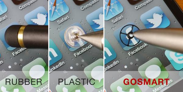 Gosmart Stylus (r.) im Vergleich zu anderen Touchscreen-Stiften (Bild: Gosmart)