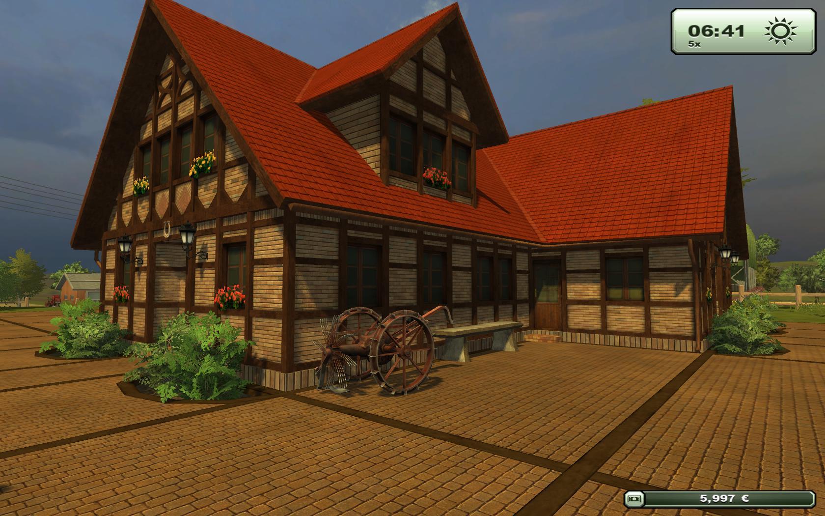 Test Landwirtschafts-Simulator 2013: Bauer sucht Fun - In diesem schicken Fachwerkhaus wohnt der Spieler - hinein kann er allerdings nicht.