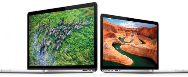 MacBook Pro mit Retina-Display. Links die 15-Zoll-Version, rechts die neue 13-Zoll-Variante.