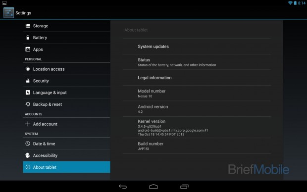 Daten zum Nexus 10 (Quelle: Brief Mobile)