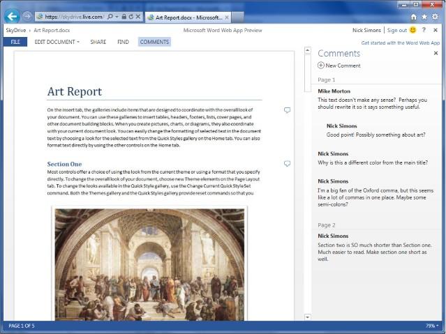 Office im Browser: Microsoft stellt neue Version der Office Web Apps bereit - Word Web App mit Inline-Kommentaren
