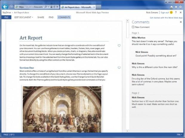 Word Web App mit Inline-Kommentaren