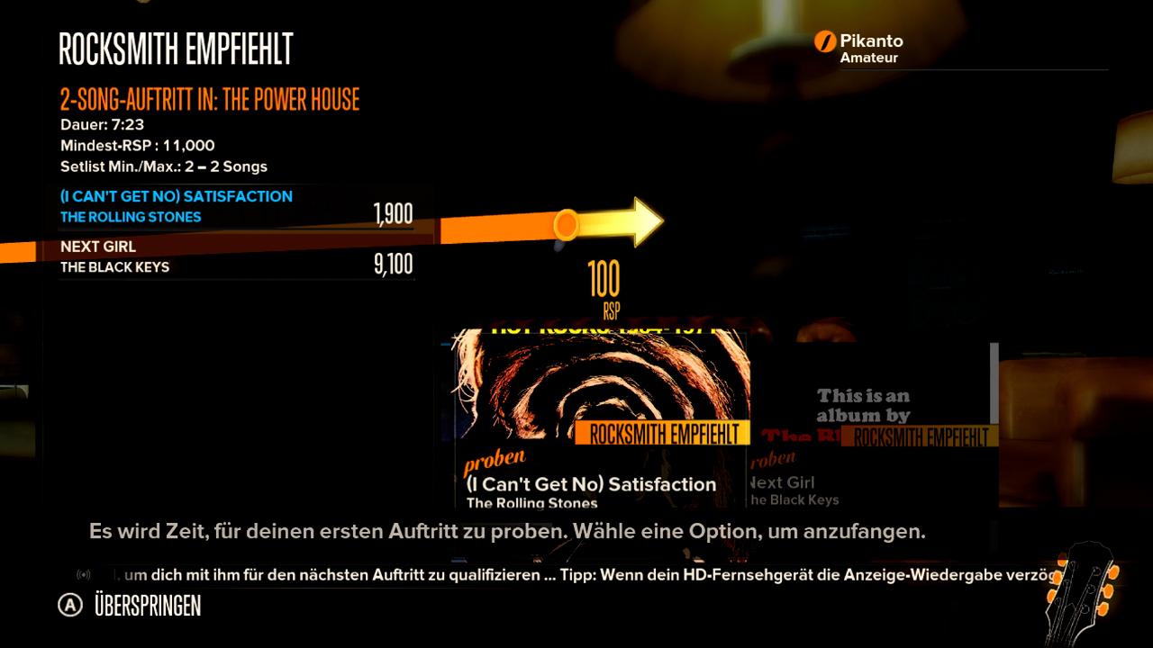 """Test Rocksmith: Gitarrenlehrer Gnadenlos - Hauptansicht des Karrieremodus """"Die Reise"""""""