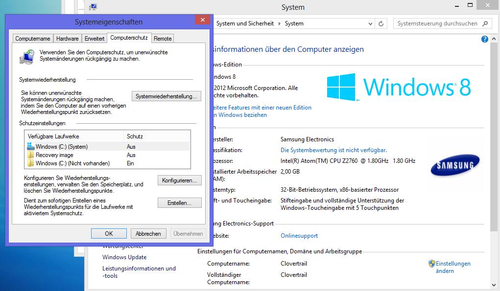 Samsung Ativ Smart PC im Test: Windows 8 und Atom im Tablet - das Beste aus beiden Welten? - Die Systemwiederherstellung ist abgeschaltet