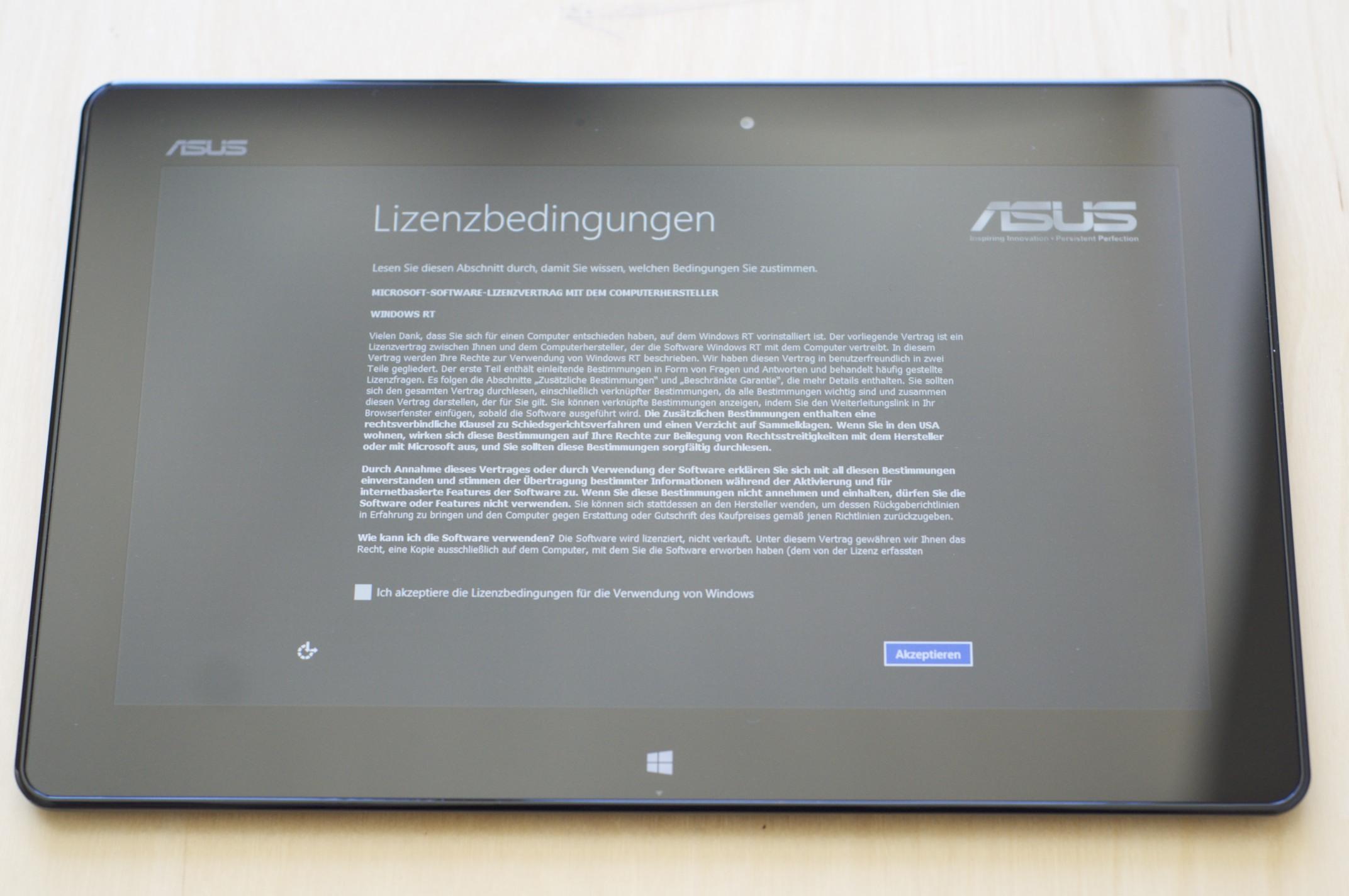 Asus Vivo Tab RT im Test: Gutes ARM-Tablet mit stromsparendem Windows RT - Lizenzhinweis