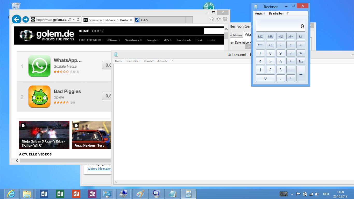 Asus Vivo Tab RT im Test: Gutes ARM-Tablet mit stromsparendem Windows RT - Taschenrechner und Editor