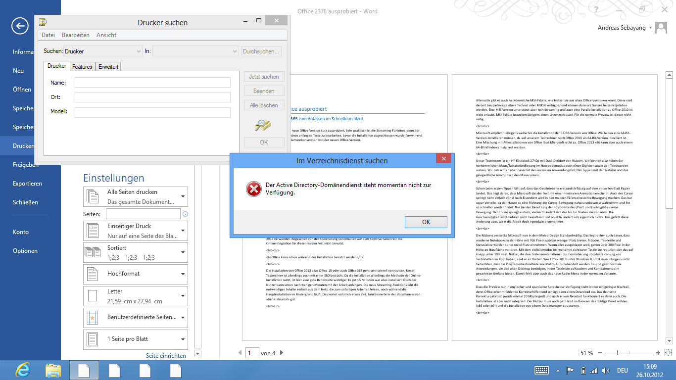 Asus Vivo Tab RT im Test: Gutes ARM-Tablet mit stromsparendem Windows RT - Beim Versuch, einen Drucker unter Office einzurichten