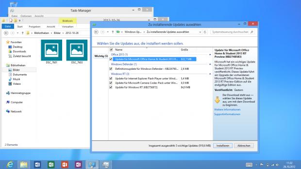 Erst einmal sollte der Windows-RT-Nutzer mehrere Updates installieren.