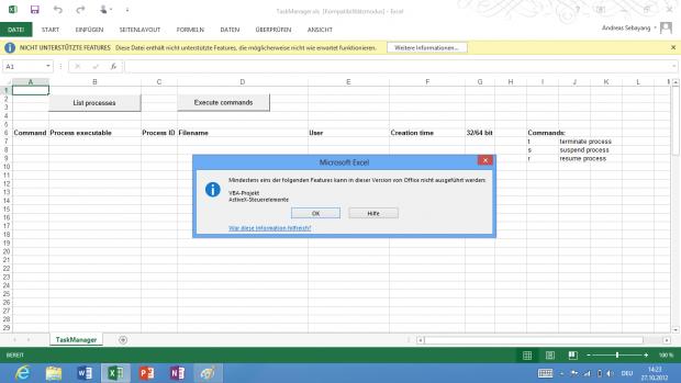"""Excel-Einschränkungen unter RT. Diese Fehlermeldung fehlt bei der Desktopvariante: """"Diese Datei enthält nicht unterstützte Features, die möglicherweise nicht wie erwartet funktionieren."""""""
