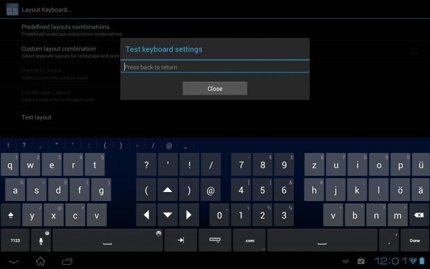 Thumb Keyboard auf einem Android-Tablet mit 10-Zoll-Touchscreen