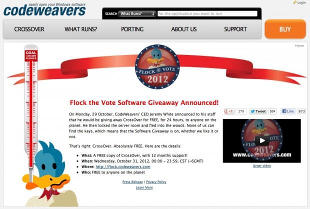 Codeweavers' Flock The Vote - kostenlos zu Crossover für Mac oder Linux (Screenshot: Golem.de)