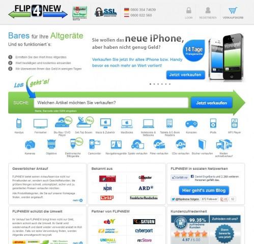Flip4New kauft und verkauft gebrauchte Medien- und Elektronikprodukte. (Screenshot: Golem.de)