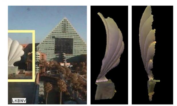 Links das Foto der Webcam, rechts die daraus generierten 3D-Modelle (Bild: Austin Abrams/Universität Washington)