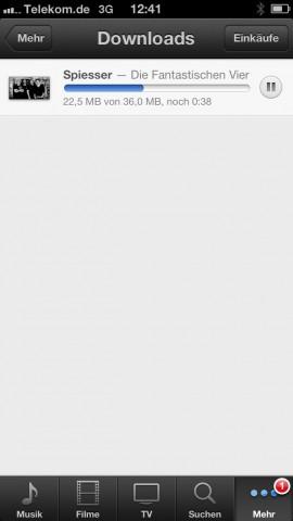 iTunes Match - führt unter iOS 6 im WLAN gestartete Musikdownloads selbst dann im Mobilfunknetz weiter, wenn die mobile Datennutzung dafür nicht freigegeben ist. (Screenshot: Golem.de)