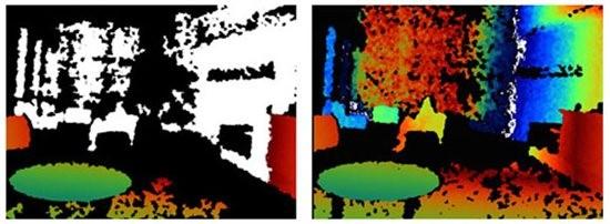 Kinect for Windows SDK - mehr Tiefendaten (r.) als beim Vorgänger (l.) (Bild: Microsoft)