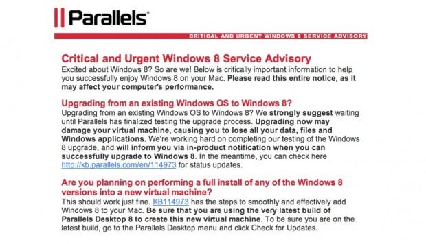 Parallels' E-Mail: prophylaktische Warnung vor dem Upgrade von VMs auf Windows 8 (Screenshot: Golem.de)