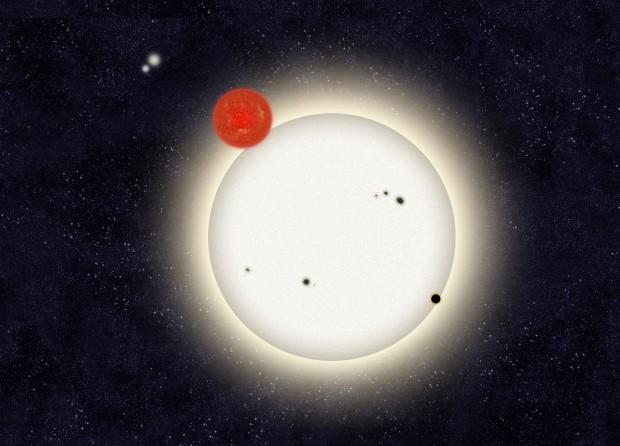 Künstlerische Darstellung des einzigartigen Systems: im Vordergrund der erste Doppelstern mit dem Planeten PH1, der gerade den größeren der beiden Sterne passiert. In der Ferne links oben der zweite Doppelstern. (Grafik: Haven Giguere/Yale)