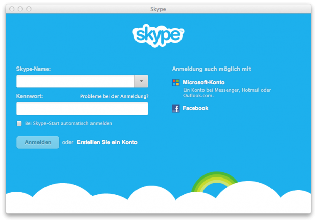 Skype 6.0 - neuer Anmeldebildschirm mit Facebook und Microsoft-Account (Screenshot: Golem.de)